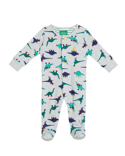 Cartoon Dino-Print Footie Pajamas, Size 0-12 Months