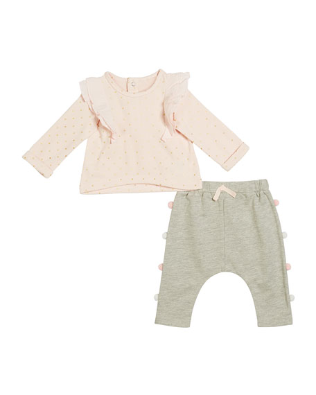 Ruffle-Trim Polka-Dot Top w/ Pompom Sweatpants, Size 3-24 Months