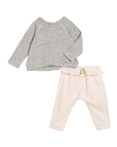 High-Low Sweater w/ Ruffle-Waist Pants, Size 3-24 Months