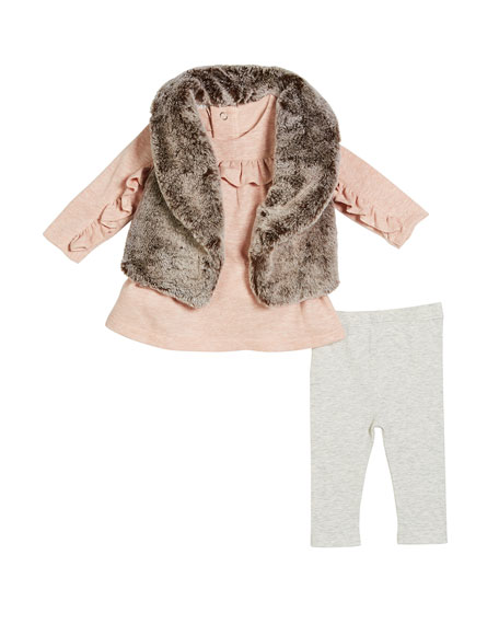 Faux-Fur Vest, Ruffle-Trim Top & Leggings, Size 3-24 Months