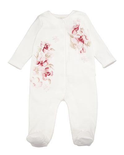 Rosettes & Floral Footie Pajamas, Size 3-9 Months