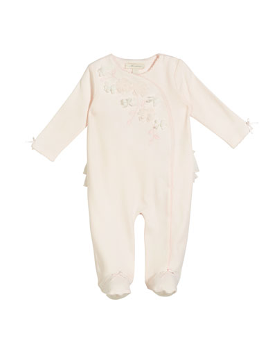 Rosettes, Ruffle & Pico Footed Coverall, Size 3-9 Months