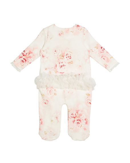 Floral Footed Coverall w/ Lace & Rosettes, Size 3-9 Months