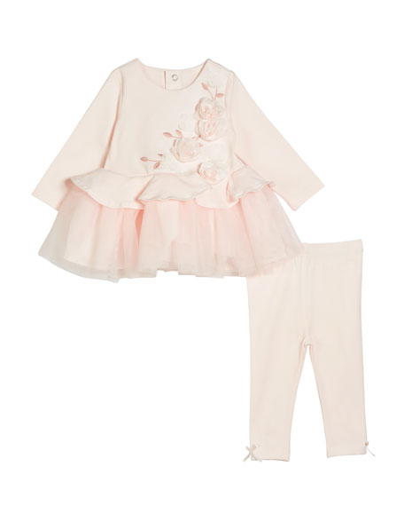 Embroidered & Rosette Long-Sleeve Peplum Top w/ Matching Leggings, Size 3-24 Months