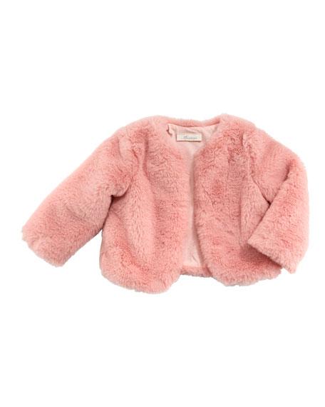 Faux-Fur One-Button Jacket, Size 3-24 Months