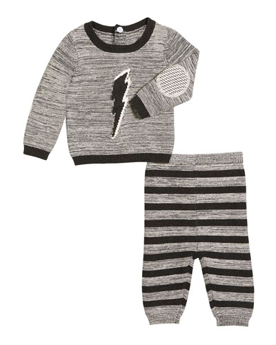 Lightning Bolt Sweater w/ Striped Sweatpants, Size 3-9 Months