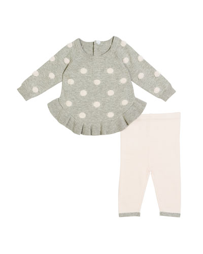Ruffle-Hem Polka-Dot Sweater w/ Matching Leggings, Size 3-9 Months