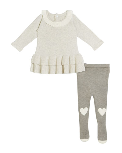 Two-Tier Ruffle Dress w/ Knit Heart-Knees Tights, Size 3-9 Months