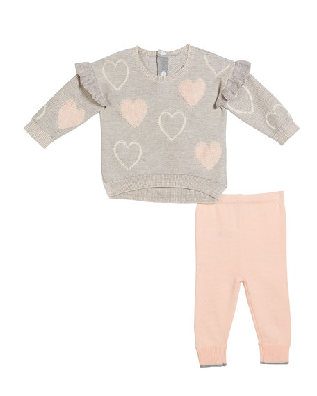 High-Low Ruffle-Trim Heart Sweater w/ Matching Pants, Size 3-9 Months