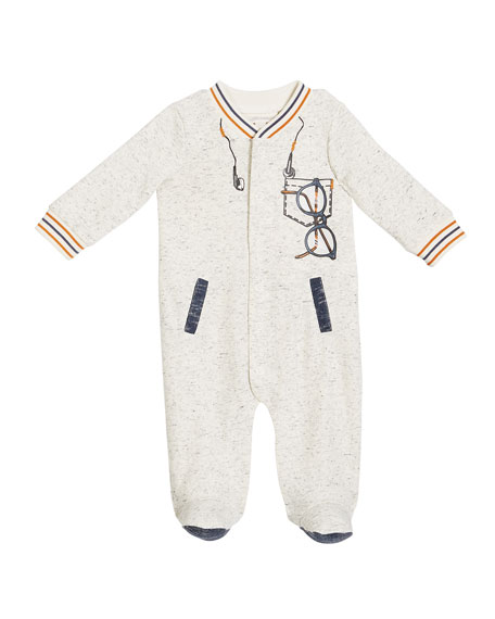 Baseball-Collar Trompe l'Oeil Footie Pajamas, Size 3-9 Months