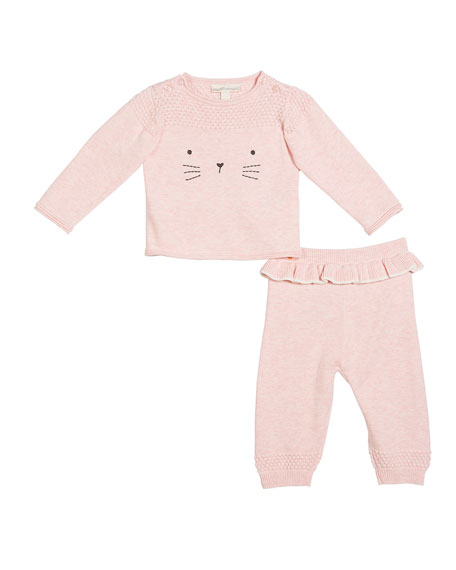 Cat Face Embroidered Sweater w/ Ruffle-Trim Pants, Size 3-9 Months