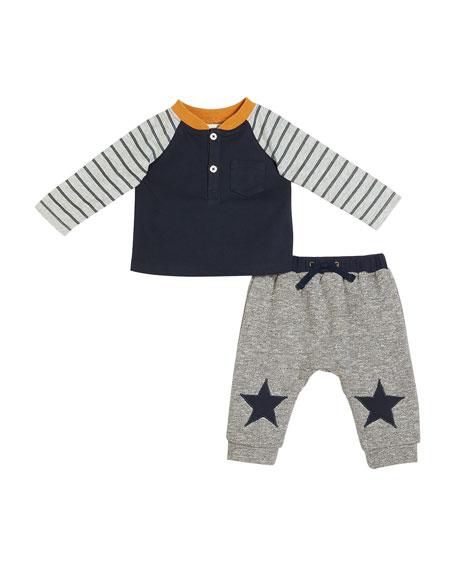 Raglan Colorblock Top w/ Star-Patch Pants, Size 3-24 Months