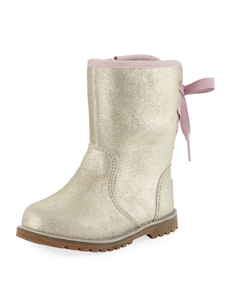 UGG Australia Corene Metallic Suede Bow-Back Boots, Toddler