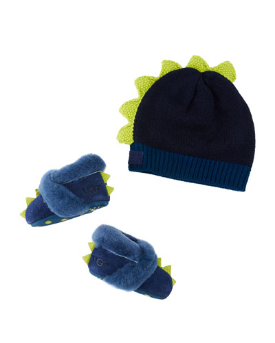 Dydo Dino Suede Booties & Knit Wool Beanie  Baby