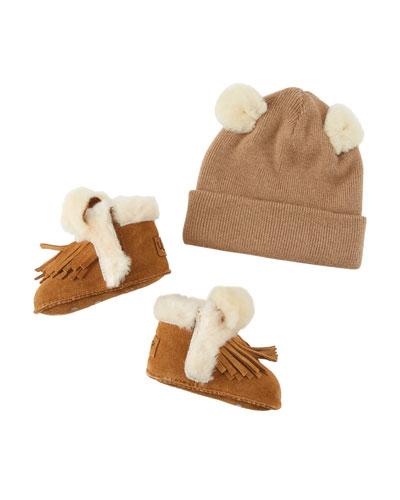 Darlala Suede Fringe Booties & Knit Wool Beanie Hat w/ Ears, Baby