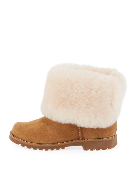 Nessa Suede Boots w/ Exposed Sheepskin Shaft, Kids