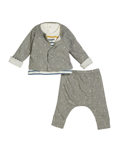 Anchor Intarsia Cardigan & Pants w/ Striped Top, Size 1-12 Months
