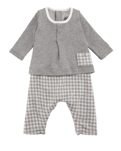 Tahitian Check Pants and Solid Top Set, Baby Boy Size 1-12 Months