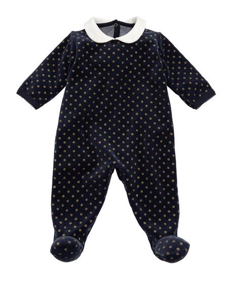 Petit Bateau Velour Sparkle Polka-Dot Footie Pajamas, Size