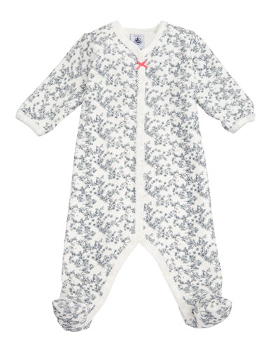 Floral Velour Footie Pajamas, Size Newborn-6M