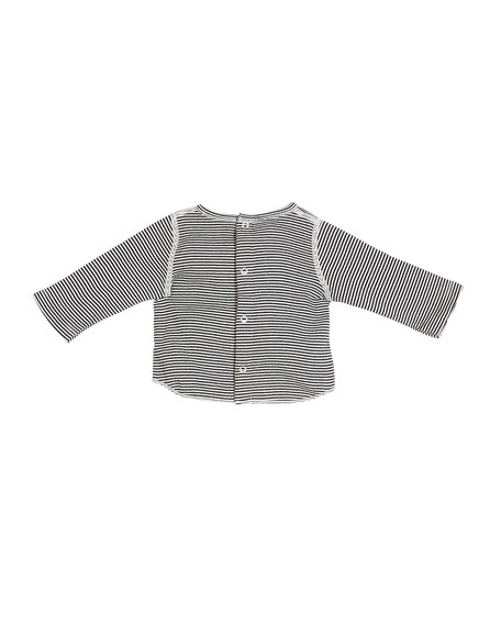 Star-Print Cardigan & Pants w/ Striped Top, Size 1-12 Months