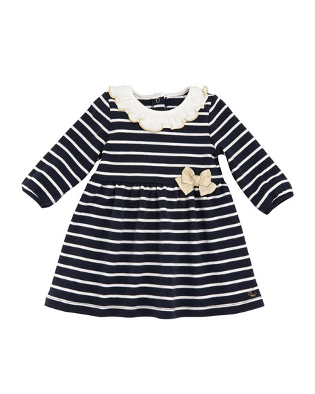 Petit Bateau Tarika Stripe Cotton Ruffle Collar Dress,