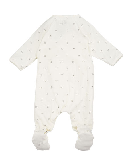 Side-Snap Printed Footie Pajamas, Size 1-6 Months