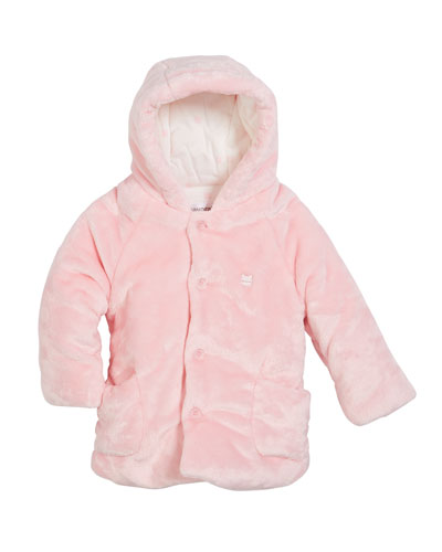 Plush Faux-Fur Hooded Jacket, Size 2-12 months