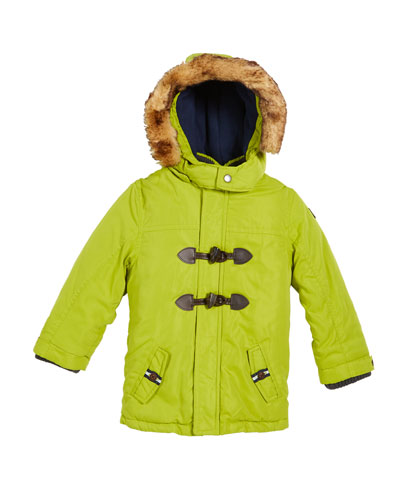 Hooded Toggle-Front Parka with Faux-Fur Trim, Size 12-36 months