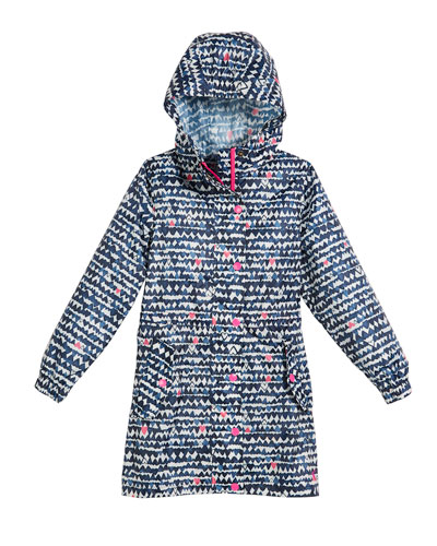 Heart-Print Hooded Pack-Away Coat, Size 3-10