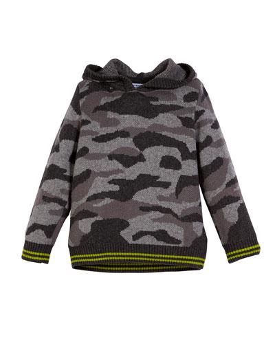 Camo Knit Hoodie w/ Contrast Trim, Size 3-7