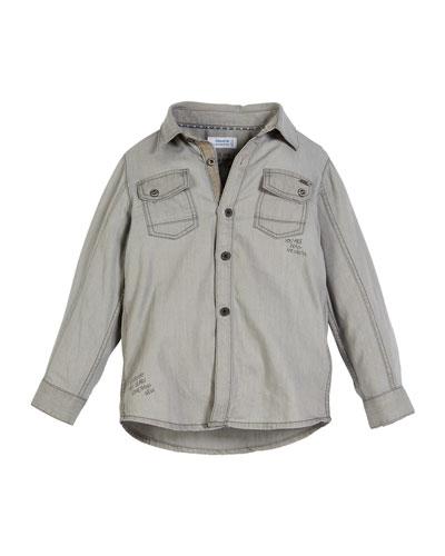 Long-Sleeve Wordmark Denim Shirt, Size 3-7