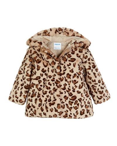 Leopard-Print Faux-Fur Coat, Size 3-7