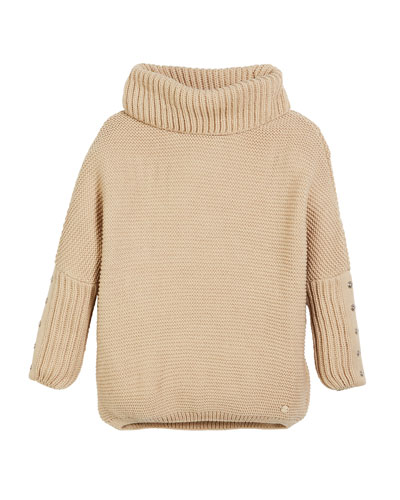 Chunky Turtleneck Knit Pullover Sweater, Size 8-16