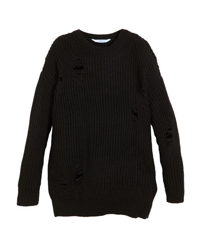 Crewneck Distressed Ribbed Sweater, Size 8-16