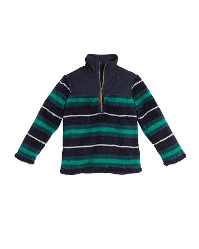 Striped Half-Zip Fleece Pullover, Size 2-6