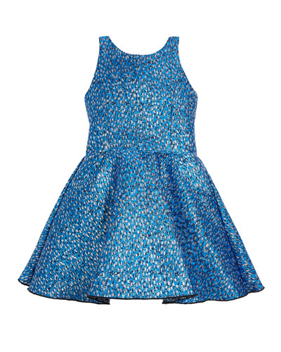 Rea Abstract Brocade T-Back Swing Dress, Size 4-6X