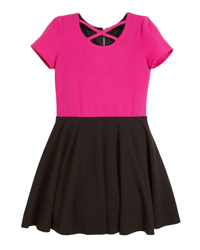 Crisscross Two-Tone Crepe Knit Skater Dress, Size 7-16