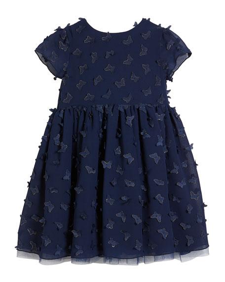 3D Butterfly Short-Sleeve Dress, Size 2-8