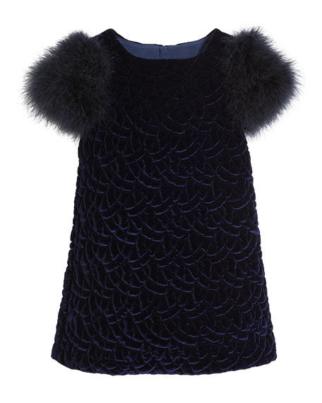 Belinda Quilted Velvet Dress w/ Feather Sleeves, Size 10-12