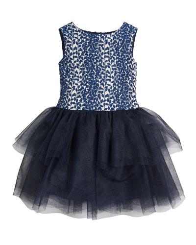 Daisy Tulle-Skirt Sleeveless Dress, Size 10-12