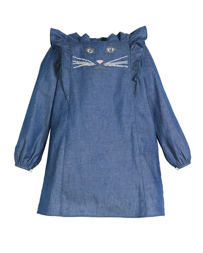 Denim Long-Sleeve Dress w/ Cat Face Embroidery, Size 2-8