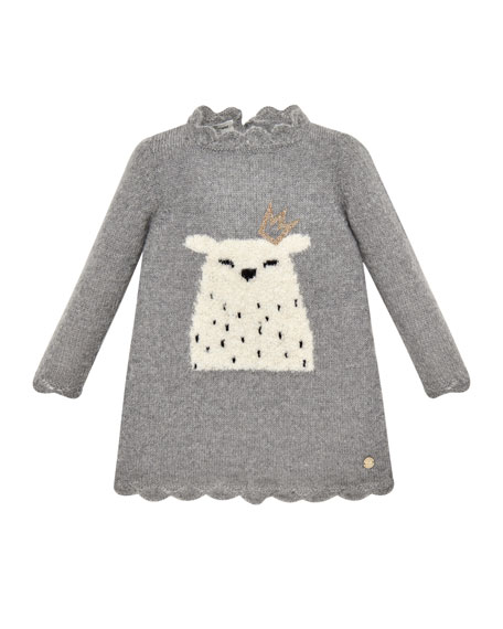 Pili Carrera Long-Sleeve Polar Bear Sweater Dress, Size