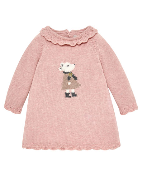 Pili Carrera Mouse Intarsia Sweater Dress, Size 6M-2