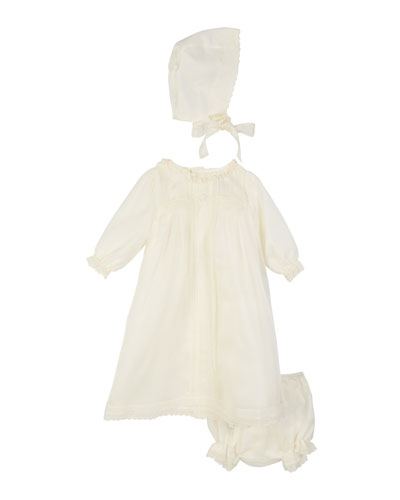 Long-Sleeve Silk Organdy Christening Gown w/ Bloomers & Bonnet, Size 3-6 Months