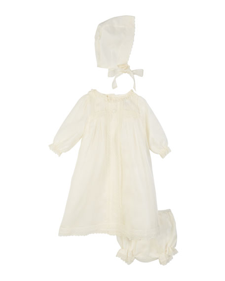Pili Carrera Long-Sleeve Silk Organdy Christening Gown w/