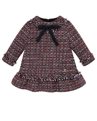Long-Sleeve Ruffle & Fringe Tweed Dress, Size 2-6