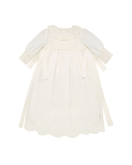 Pili Carrera Long-Sleeve Embroidered Christening Gown w/ Bloomers