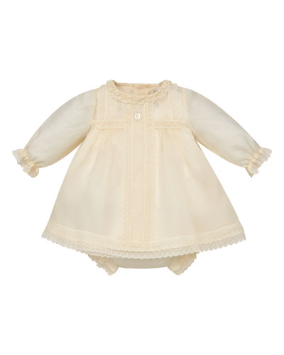 Long-Sleeve Silk Organdy Christening Dress w/ Bloomers, Size 6M-2