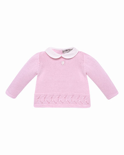 Collar Knit Sweater w/ Matching Footed Leggings, Size 1-6 Months
